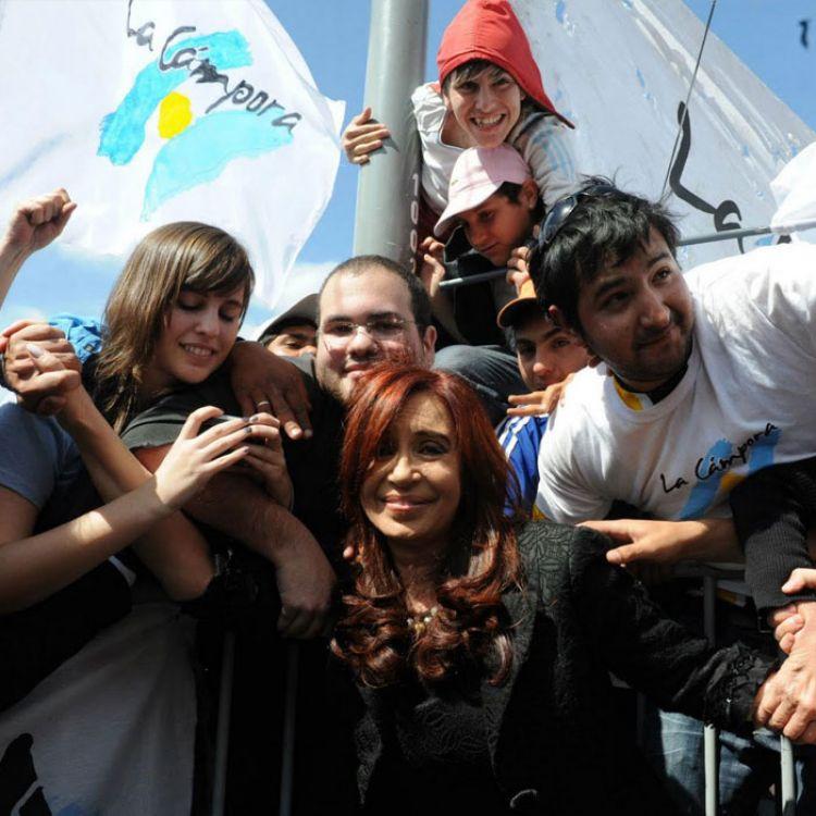 Cristina Kirchner junto a integrantes de la Cámpora.