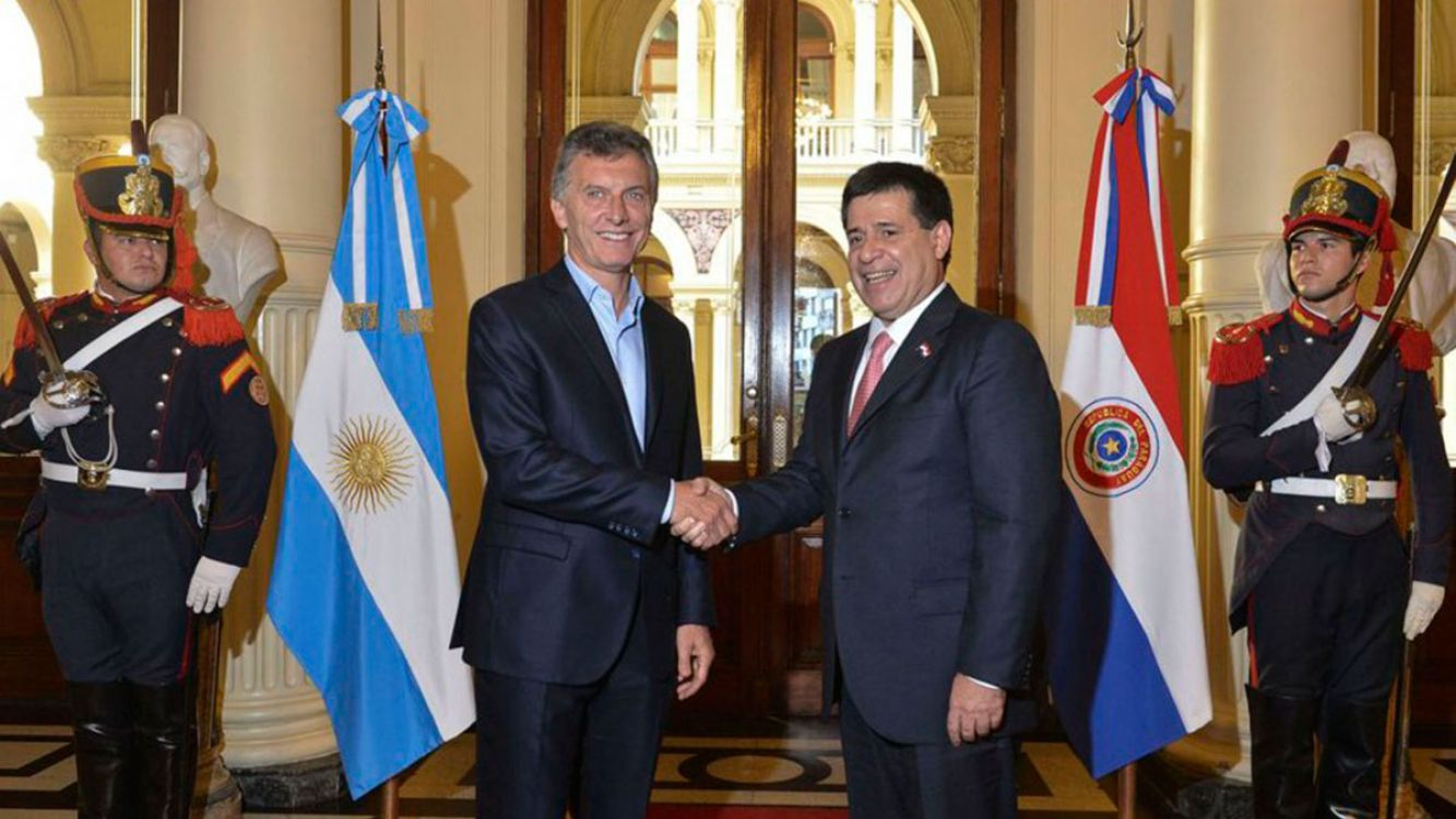 El presidente Mauricio Macri y Horacio Cartés presidente de Paraguay