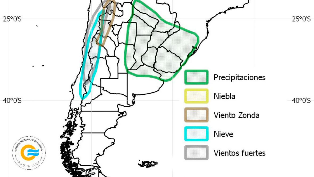 Alerta meteorológico para varias provincias por abundantes nevadas, lluvias, tormentas y vientos fuertes