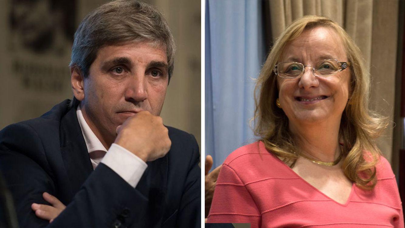 Luis Caputo, El titular de la cartera de Finanzas y Alicia Kirchner, Gobernadora de Santa Cruz