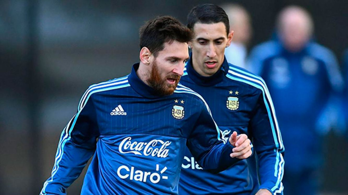 Entrenamiento Selección Argentina: Lionel Messi y Angel Di María