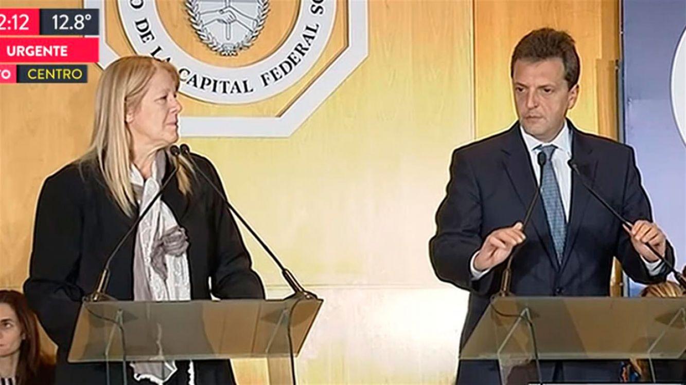 Margarita Stolbizer, y Sergio Massa