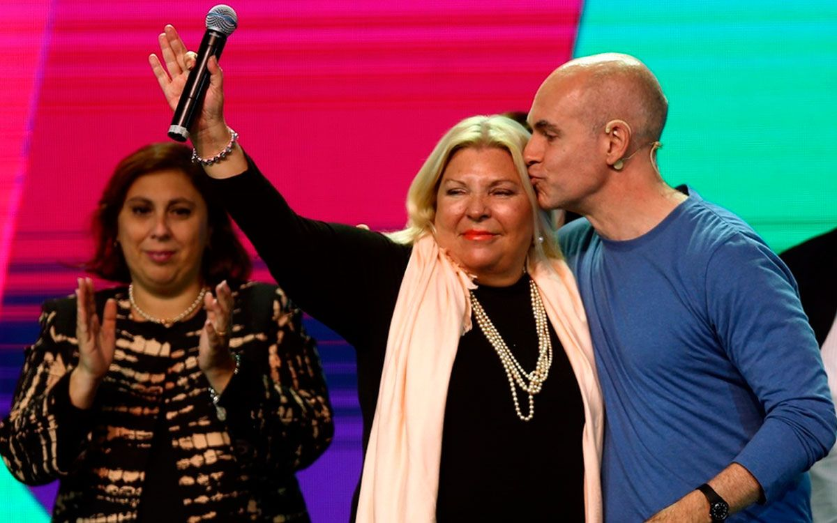 Lilita Carrió y Horacio Rodríguez Larreta festejaron la victoria de Cambiemos