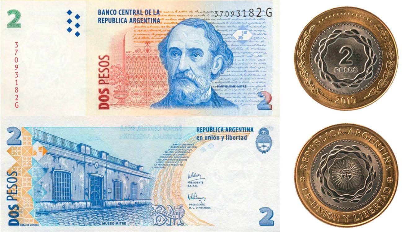 Billetes y monedas de 2 pesos