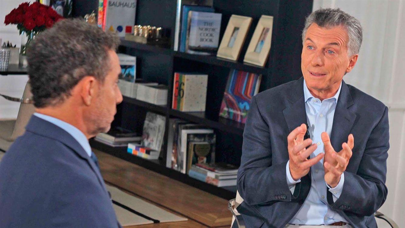 """Macri en la entrevista con Majul, para el programa """"La cornisa""""."""