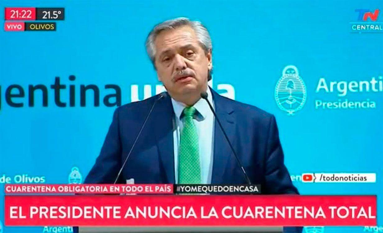 El presidente declaró Cuarentena obligatoria en todo Argentina