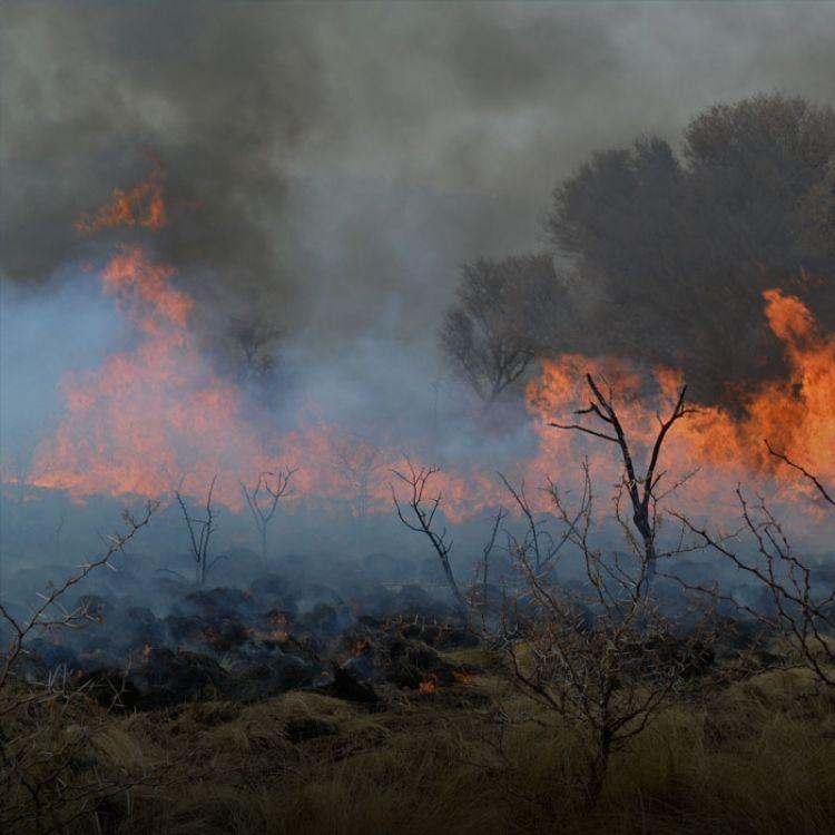 Un segundo foco de incendio sigue activo en la zona de Estancia Grande y El Durazno alto, pero el fuego se desplaza hacia el norte.
