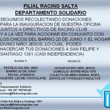 La Filial de Racing en Salta se encuentra recolectando materiales para los necesitados.