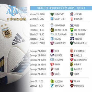 Día y horarios de los encuentros pautados para la primera fecha del torneo de primera división.