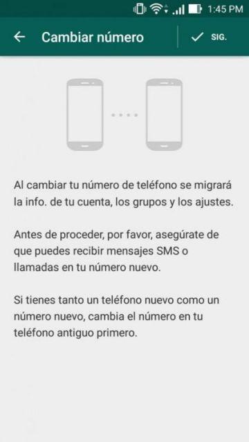 Imagen del cambio de número en Whatsapp.