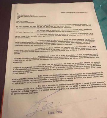 Descargo de Lionel Messi a la FIFA tras los supuestos insultos a juez de línea