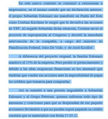 Intervención de la compañía hacia Sebastián Eskenazi.