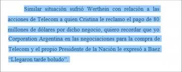 Pide el pago de US$80 millones de dólares por la participación de Gerardo Werthein en TELECOM.