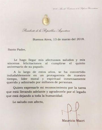 Carta que le envió Macri al papa Fransisco.